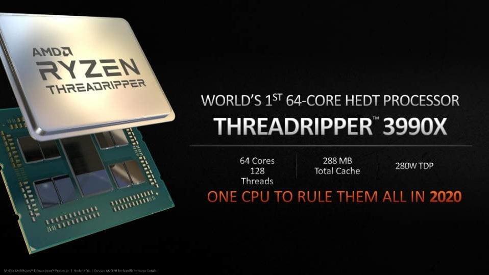 64-ядерный, 128-поточный AMD Threadripper 3990X выйдет в 2020 году